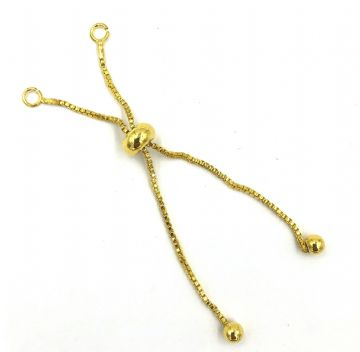 2 x Gold plated bracelet clasp connector with slider - 1mm x 7cm
